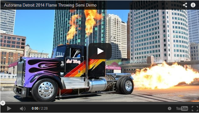 Downtown detroit Flame Throwing Semi